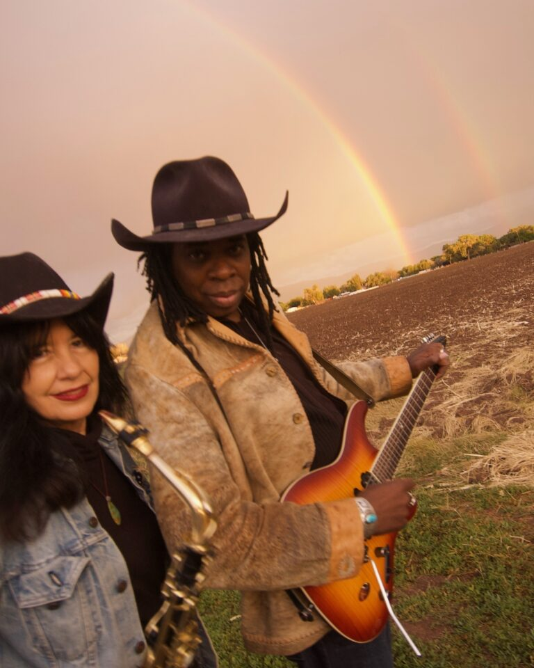 Joy Harjo with Larry Mitchell, when the rainbow told me it would appear -- Photo by Karen Kuehn
